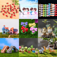 Wholesale mini house toy - Micro Landscape Garden Decorations Mini House Cottages Bee Insects Mushroom Rabbit Potted Plants Craft Miniature Fairy Garden Toys WX9-588