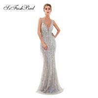 gece elbiseleri deniz kızı elbiseleri toptan satış-Moda Zarif V Boyun Mermaid Ağır Boncuk Tül Uzun Parti Örgün Abiye Kadınlar Gece Maxi Balo Elbise Abiye