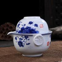 çay mavisi toptan satış-Sıcak satış Çay seti 1 Pot 1 Bardak zarif gaiwan Dahil Güzel ve kolay demlik su ısıtıcısı Mavi ve beyaz porselen demlik