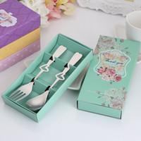 Wholesale heart spoon fork set resale online - Stainless Steel Tableware Dinnerware Set Heart Spoon And Fork set For Wedding Favor Gift Souvenir LX3527