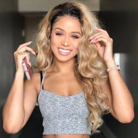 Wholesale root light - Doriswigs Pre Plucked 360 Lace Frontal Wigs Ombre #1B 27 Dark Roots Honey Blonde Brazilian Body Wave 360 Full Lace Human Hair Wigs