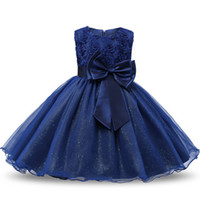 Wholesale christening clothes for kids resale online - Sequin Toddler Baptism Baby Girls New Dress for First Birthday Party Christening Gown Princess Kids Dresses Children Clothes