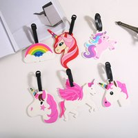 Wholesale label board for sale - Group buy Unicorn Luggage Tag Creative Silicone Suitcase ID Address Holder Baggage Boarding Tags Portable Label Travel Accessories Party Favor GGA1095