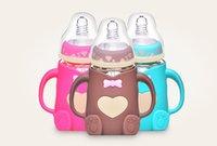 neugeborene glasflaschen großhandel-Mutter und Kind liefert Neugeborenes Baby Weitkaliber Flasche Schlagfestes Anti-Flatulenz mit Griff Babyflasche