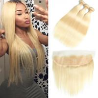 cheveux humains tisse blonde achat en gros de-BEAUDIVA 613 Blonde Droite Vierge Bundles De Cheveux Avec Dentelle Frontale Extensions de Cheveux Brésiliens Armure de Cheveux Humains 100%
