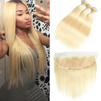 Wholesale 28 inch blonde human hair extensions resale online - BEAUDIVA Blonde Straight Virgin Hair Bundles With Lace Frontal Brazilian Hair Extensions Human Hair Weave