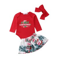 юбка рождественская юбка оптовых-Toddler Baby Girl Christmas Gifts Sunsuit Dress Kids Girls Bowknot Tops+Tutu Skirts Dress 3Pcs Xmas Party Costume Clothes Set