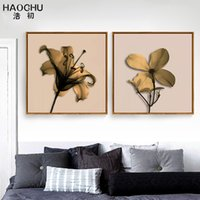 Wholesale tree art flower pictures for sale - Group buy HAOCHU Modern Tree and Yellow Flower Decorative Painting Living Room Poster Art canvas Painting Bedroom Print picture Frameless