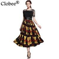 a95c4cbc3101 Clobee 2017 abbigliamento etnico boho manica corta tunica abito in chiffon  gelato stampato a metà polpaccio vestidos de festa
