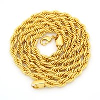 goldseil china großhandel-18 Karat Reales Gold Überzogene Edelstahl Seil Kette Halskette für Männer Gold Ketten Modeschmuck Geschenk VICHOK