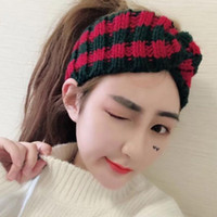 Wholesale 2018 Fashion Knitted Stripe Headband Crossing Wide Hairwrap Handmade Fashion Knitting Warm Headband Colors