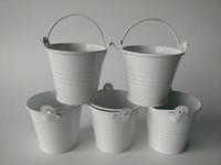 Wholesale mini whites tin pails for sale - Group buy 100pcs Metal Mini Pails Wedding Favors mini pails tin candy box gift package sweet favor boxes nice succulents planter