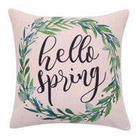 Wholesale Spring Pillows - Spring Wreath Cushion Covers Watercolor Leaf Decorative Pillow Cases Linen Hello Spring Quote Throw Pillow Covers for Sofa Home