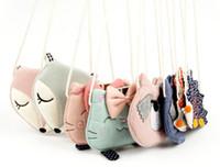 kedi para çantası toptan satış-2018 Kız Sikke çanta çocuk Cüzdan Küçük Değişim Çanta Çocuk Çantası Sikke Kılıfı Para Tutucu Kedi / Tilki / Ayı / Kirpi Bebek Handbag.5pcs /