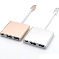 câble usb hdmi pour ordinateur portable achat en gros de-Câble adaptateur USB type C vers HDMI Convertisseur AV pour iPhone Console commutateur téléphone portable Macbook Pro Chromebook Ordinateur portable 4K 3 en 1