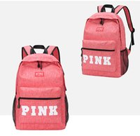 Wholesale holiday tennis - VS Zipper Shoulder Versatile Sack 2018 Summer Holiday Beach Letter Bag Shopping Tote Love Pink Backpack Teenager Girls Students School Bags