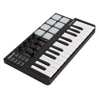 usb midi klavye toptan satış-Toptan Panda mini Taşınabilir Mini 25-Key USB Klavye ve Davul Pad MIDI Denetleyici