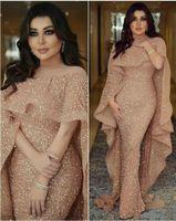 robes de soirée cape à manches longues achat en gros de-Robes de soirée longue sirène arabe Myriam Fares avec cape à manches courtes bijou paillettes robes de bal robes de soirée en cascade Zuhair Murad