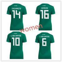 Wholesale Slim Ripped Girl - 2018 World Cup Woman Mexico soccer Jersey Mexico Home 8 H.LOZANO 10 G.DOSSANTOS 14 CHICHARITO girl Slim Short sleeved football shirt