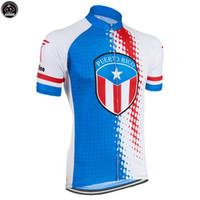 takım usa gömlek toptan satış-YENI Porto Riko ABD mtb yol YARıŞ Takımı Bisiklet Pro Cycling Jersey / Gömlek Tops Giyim Nefes Hava JIASHUO