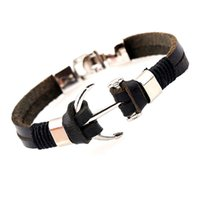 Wholesale boat anchor bracelet - Bracelet New Arrival Fashion Design Leather Bangles Alloy Boat Anchor Bracelet Marin Sailor Sea Men Viking Jewelry for Male