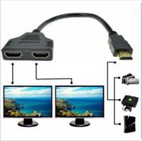 convertidor de cable de video hdmi al por mayor-HDMI Splitter Adapter Converter Macho a Hembra HDMI 1 a 2 Adaptador de Señal de Doble Dividir Convertir Cable para Video TV HDTV