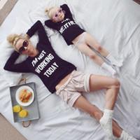 mães que trabalham venda por atacado-Olhar família Eu Não Estou Trabalhando Hoje Carta de Impressão de Manga Longa Camisetas Família Combinando Roupas Mãe Crianças Crianças Roupas Combinando