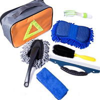 Wholesale towel outlets for sale - Car Wash Cleaning Kit Set Tire Brush Air Outlet Cleaning Brush Wiping Block Small Wax Mop Towel Car Washing Tool Kit