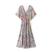 Wholesale sexy clothing boutiques resale online - Euro Fashion Boutique Women Clothes Sexy V Neck Short Sleeve Flowers Print Dress Women Casual Summer Dresses