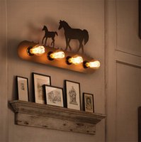 Wholesale horse wall lights - Modern wall lamps creative Horse deer cartoon Totoro sconces Industrial retro light fixture for hallway Bedroom antique art Iron 4 E27 Base