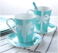 kupa dantel toptan satış-Klasik Dantel serisi mavi seramik fincan Mavi Drinkware kupalar kahve süt bardak Düğün Hediyeleri kaliteli
