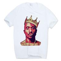 camiseta swag hombre al por mayor-Camiseta para hombre Tupac 2pac Estampado de manga corta Cuello O Camiseta blanca Hip Hop Swag Harajuku Streetwear Camiseta