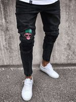 Wholesale pencil cartoon character - Men's Jeans Stretchy Ripped Skinny Biker Jeans Cartoon Pattern Destroyed Taped Slim Fit Black Denim Pants 2018 New