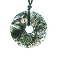 Wholesale fine chinese jewelry resale online - Chinese style Hand carved pingan kou lucky Amulet fine jewelry Water grass agate Necklace safety button Pendant gift