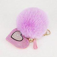bayan anahtarlıkları toptan satış-Ponpon Anahtarlıklar Rhinestone Kalp kadın Çantaları Anahtarlık El Yapımı Accrssories Anahtarlıklar Kolye Büyüleyici Süspansiyon Dekorasyon