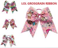 """Wholesale blue grosgrain ribbon - NEW 7"""" Cartoon LOL Print GROSGRAIN RIBBON Hairbands Girls Cheer Bow Exquisite Handmade Scrunchies elastic Hair band Hair Accessories 20pcs"""