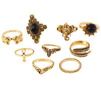 ingrosso le pietre nere squillano le donne-9pcs / set miglior prezzo anello gioielli donna set di alta qualità retrò vintage naturale pietra nera gemma oro argento boemia gioielli set anello
