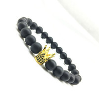 ingrosso immagini pietre di cristalli-JLN Natural Lava Crown Bracelet Imperial King Charm Immagine Jasper Agate Crystal Stone Power Beads Stretch bracciali per uomo donna gioielli