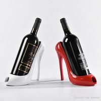 Wholesale racks for wine - 2018 High Heel Shoe Wine Bottle Holder Shoes Design Silicone Wine Bottle Holder Rack Shelf for Home Party Restaurant Free DHL XL-435