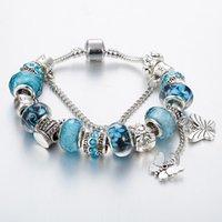 кулон бабочки 925 серебристый оптовых-Стерлингового серебра 925 Корона Сова Шарм браслеты синий/красный/фиолетовый натуральный Кристалл Мурано бабочка кулон браслет с логотипом