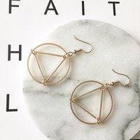 ingrosso gioielli triangolo a cerchio-Vendita calda gioielli europei e americani Commercio minimalista hollow triangle Cerchio geometria all-match earbob femminile