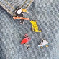 Wholesale flamingo brooch resale online - Shunyun set Leopard Crow Flamingo Roller Skates Brooch Enamel Pins Badges Metal Craft Accessories Women Statement Jewelry