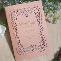 ingrosso decorazioni per inviti di nozze-Pink Wedding Invitations Card Romantico Colore Shell per gli amanti Marry Decorazione Strumenti Laser Cut Greeting Cards Alta qualità 1 08cf Z.