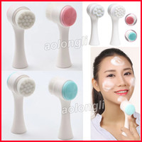 Wholesale body brushing - Two-sided Silicone wash face brush Facial Pore Cleanser Body Cleaning Skin Massager beauty SPA Facial Care Cleansing makeup Brush