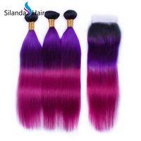 colores remy de la armadura al por mayor-Silanda Hair Remy, el cabello humano teje 3 paquetes de tejido con cierre de encaje 4X4 Ombre # 1B / Purple / Rose 3 colores, envío gratis recto