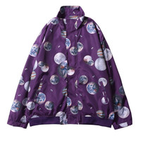Wholesale purple planet - Planets Printed Windbreaker Jackets 2018 Autumn Hip Hop Full Zip Up Casual Track Jacket Coats Mens Fashion Streetwear