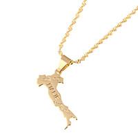 i̇talyan kolye toptan satış-Küçük Sevimli 18 K Altın Kaplama İtalya Harita Kolye İtalyan Italie Kolye Moda Altın Zincir