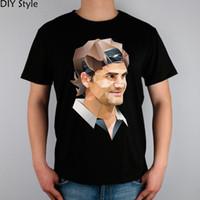 Wholesale T Shirts For Men Lycra - Roger federer rf t-shirt male short-sleeve cotton lycra top new arrival shirts for men