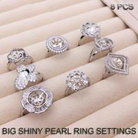 ajustes de anillo de perla grande al por mayor-GRAN BRILLO Ajustes del anillo de la perla Zircon Anillos de plata Ajustes Anillo de bricolaje para mujeres Adecuado para Pearl 7-9mm Tamaño ajustable DIY Regalo de la joyería
