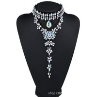 Wholesale gorgeous wedding jewelry - Gorgeous Choker Pendant Necklace for Women with Pretty Crystal Beads Costume Jewelry for Wedding Dress 3 Colors 1 Pc